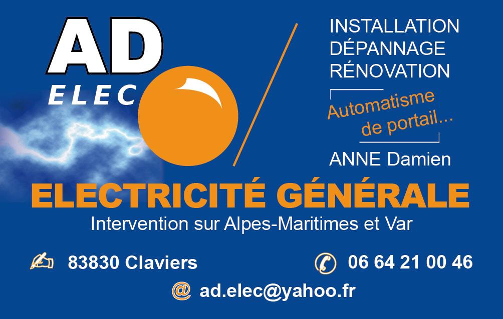 Carte De Visite Electricien AD Elec
