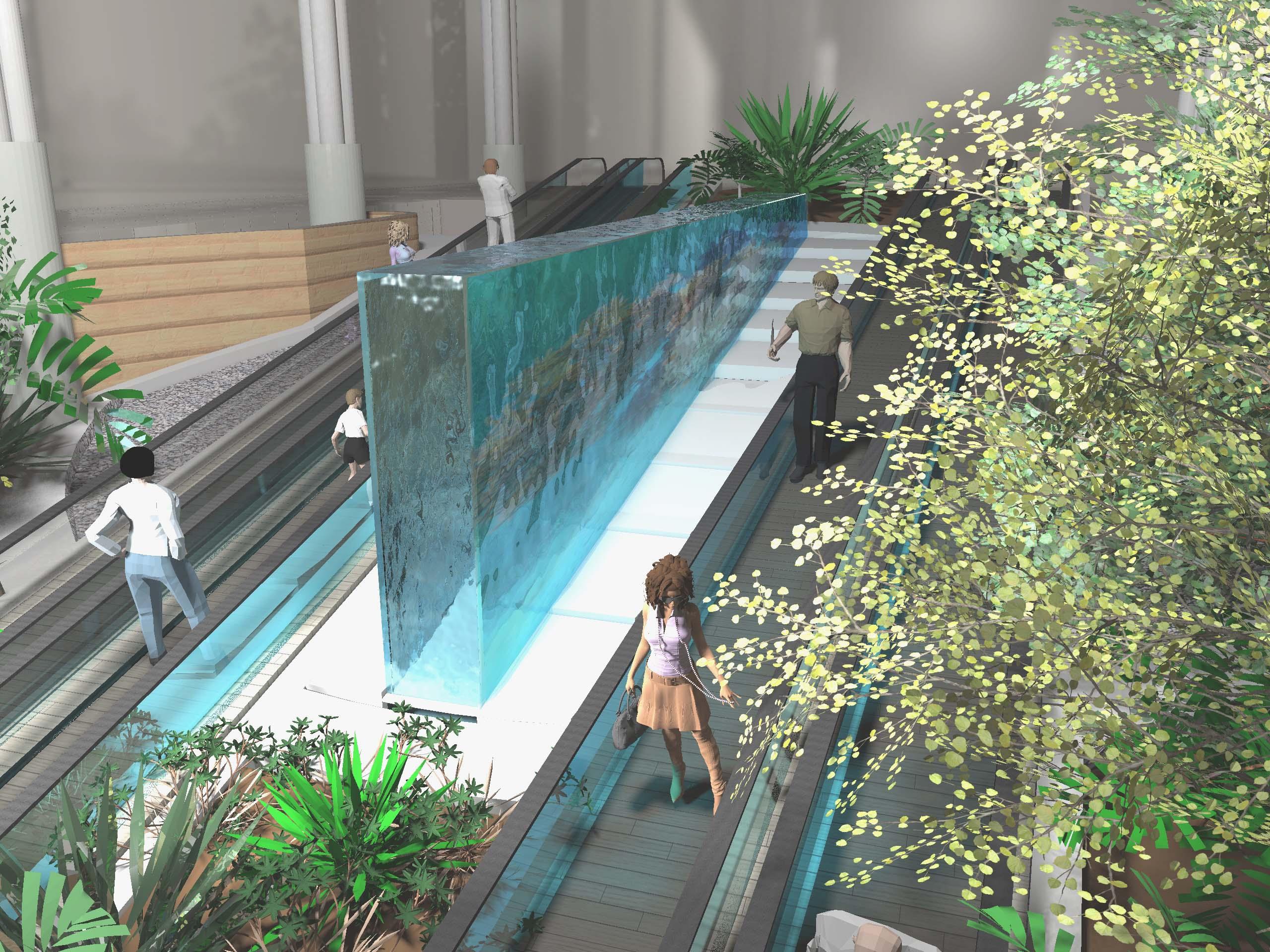 mur d eau dans un centre commercial. Black Bedroom Furniture Sets. Home Design Ideas