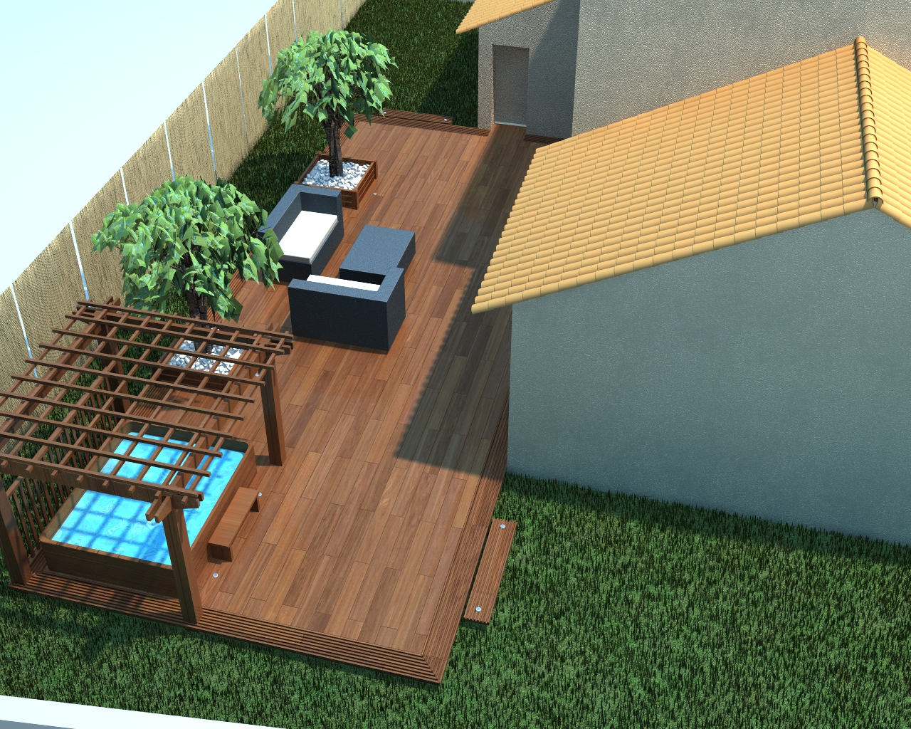 Conception terrasse et am nagement spa et salon de jardin for Amenagement terrasse et jardin photo