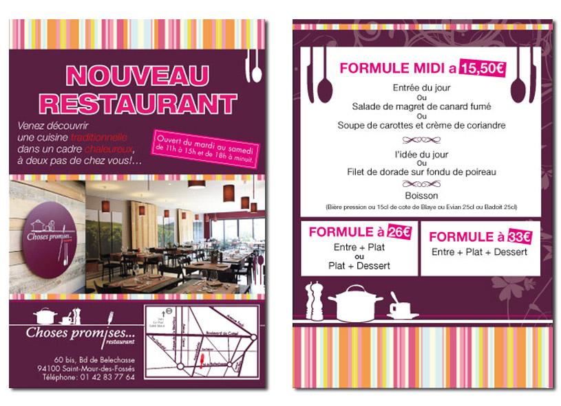 R alisation flyer pour un restaurant recto verso for Four pour restaurant